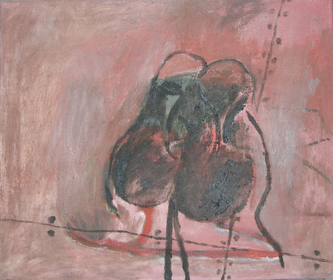 """Eva Hradil """"zärtliche Schuhe"""", Öl auf LW, 50 x 60 cm"""