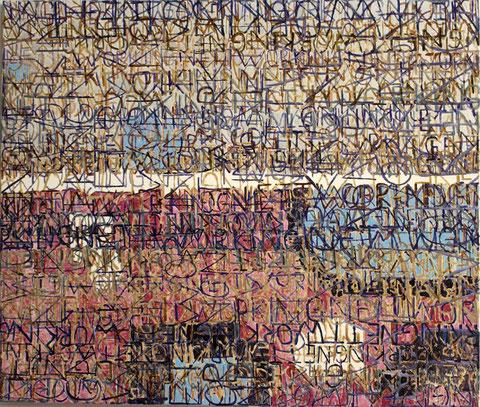 "Eva Hradil ""Nettworking"" 2014, Eitempera/HKG/LW, 110 x 130 cm"