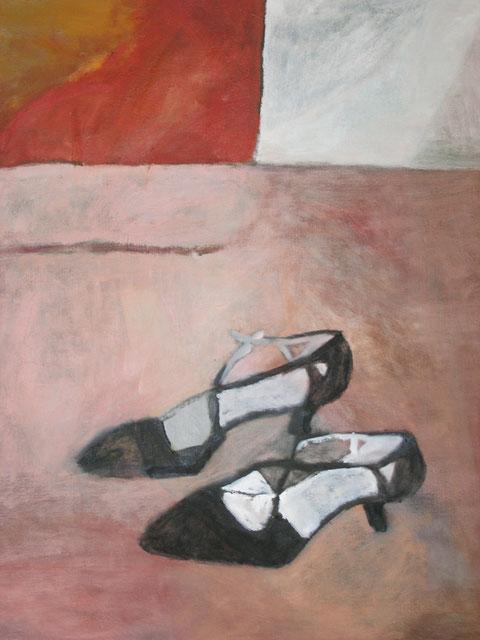 "Eva Hradil ""Tanzschuhe"" Öl auf LW, 90 x 80 cm"