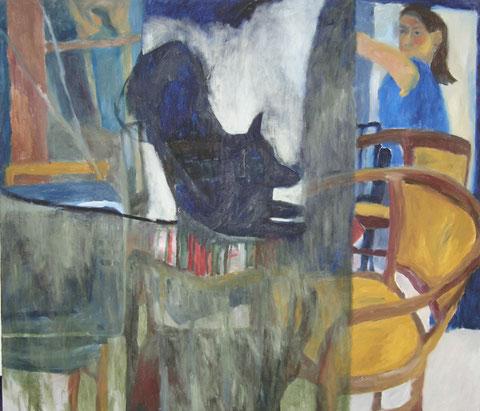 """Eva Hradil """"Jahreswechselbild 1999/2000"""", Öl/LW, 130 x 150 cm"""