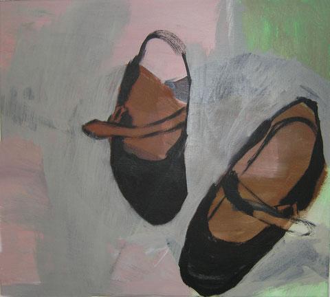 """Eva Hradil """"schwarze Ballerina mit rosa und grün"""" Eitempera/HKG/LW, 45 x 50 cm, dieses Bild ist im Besitz der Artothek Niederösterreich und kann dort entlehnt werden"""