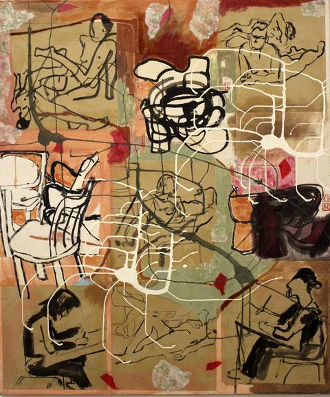"""Eva Hradil """"Aktzeichnen"""" 2003-2015, Eitempera und Reispapier auf Molino, 130 x 110 cm"""