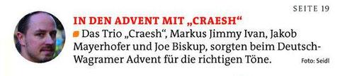 Kurznotiz im Gänserndorfer Bezirksblatt