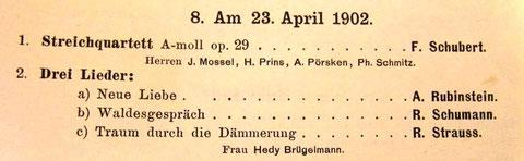 Aufführungsabend am Kölner Konservatorium, Jahresbericht 1902