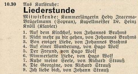 Programm einer Radiosendung des Südfunkes, Samstag, 19. November 1932, 10.30 - 11.00 Uhr (Historisches Archiv des SWR, Stuttgart)