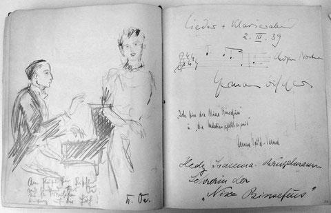 Eintrag im Gästebuch des Karlsruher Konzertveranstalters Kurt Neufeld: Konzert 1939 mit u.a. Aenne Oertel-Vasmer (Badische Landesbibliothek)