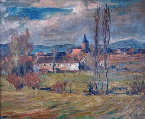"""Das Gemälde """"Barbelroth"""" (Ort in der Pfalz) vom Karlsruher Künstler Karl Oertel (ca. 1916) befand sich im Besitz von Hedy Brügelmann"""