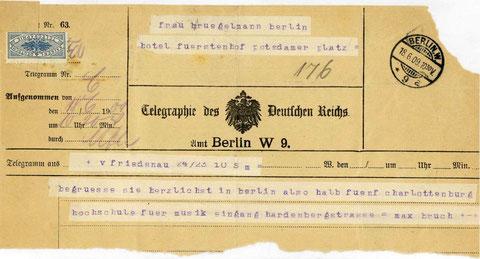 Telegramm von Max Bruch an Hedy Brügelmann, Juni 1909 (Staatsarchiv Ludwigsburg)