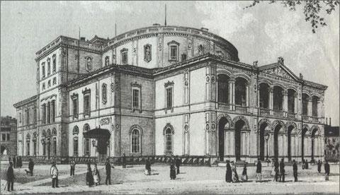 Karlsruher Landestheater, Architekt Heinrich Hübsch, gebaut 1853, im 2. Weltkrieg zerstört