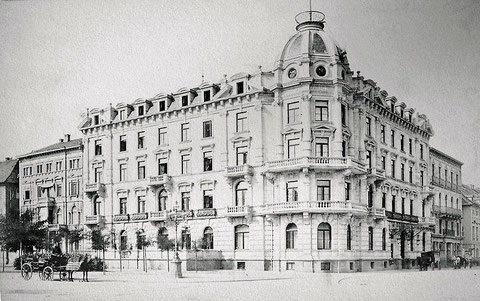 Hotel Germania am Ettlinger Tor in Karlsruhe, im Krieg zerstört, erstes Domizil von Hedy Brügelmann in Karlsruhe
