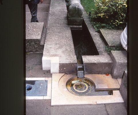 中庭の水路と水盤