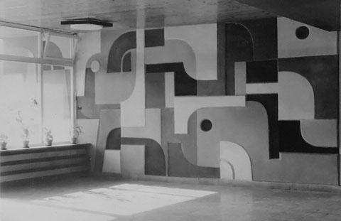 Sgraffitto 6-farbig, Kindergarten Alkenrath, Leverkusen 1960