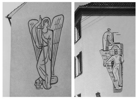 Sgraffittoarbeiten, Leverkusen, 1954 (existieren nicht mehr)