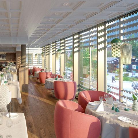 Innenraum Renderings des neuen Restaurants vom Hotel Post Lech