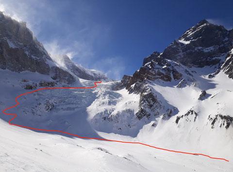 Skitour, Tödi, Tagestour, Tödi an einem Tag, Tierfehd, 1. Gletscherbruch