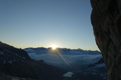 Hiendertelltihorn Ostgrat, Ostsporn, Zustieg, Einstieg, Sonnenaufgang, Timing, Touren Gruebenkessel, Gruebenhütte, Gruebeseewli