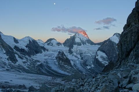 Zinalrothorn, Nordgrat, Mountet Gletscher, Dent Blanche