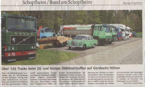 Bericht von Gerd Sutter in der Badischen Zeitung
