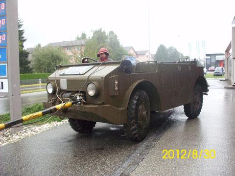 im strömenden Regen im Schlepp - Stopp in Solothurn