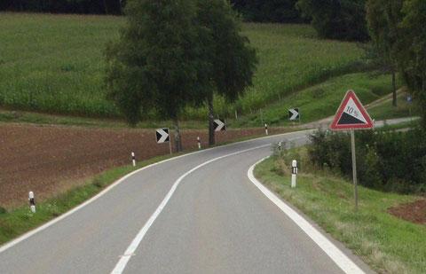 nach der Steigung kommt das Gefälle mit 10% in Richtung Stein / Bad Säckingen