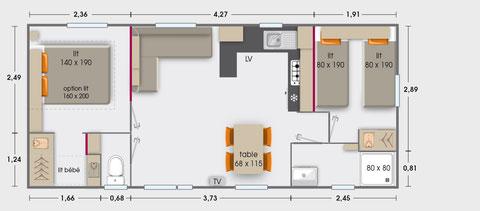 Mobil-homes 4/6 personnes (33.80 m²) - A & B