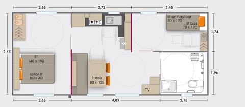 Mobil-home 4/6 personnes accessible aux personnes à mobilité réduite (34,90 m²)- F
