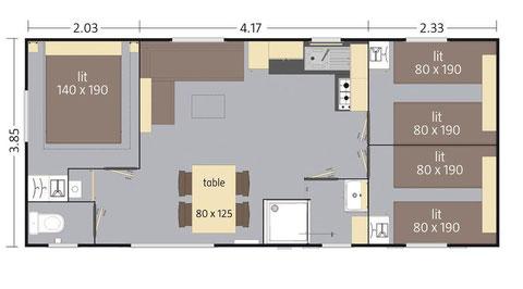 Mobil-home 6/8 personnes (33,80 m²) - E