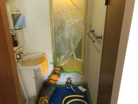 賃貸コーポユニットバス洗い場再生塗装