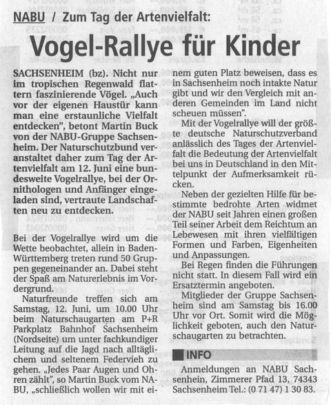 6. Juni 2004 BZ Ankündigung Vogelrallye am 12. Juni 2004