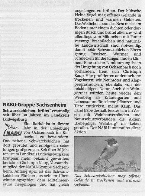 Nachrichtenblatt Nr. 15/2009 vom 30.06.2009 über Schwarzkehlchen