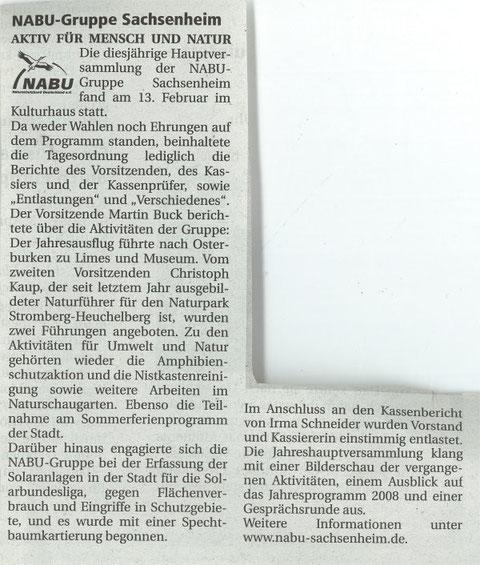 Nachrichtenblatt vom 04.04.2008 über NABU-jahreshauptversammlung