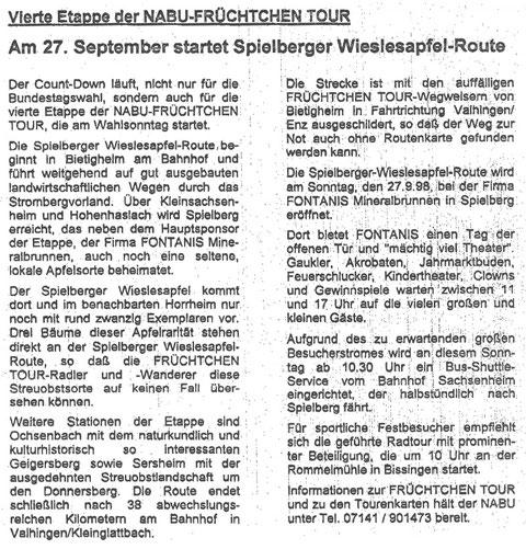 Pressemitteilung am 15. September 1998 zur Start der 4. Etappe der Früchtchen-Route