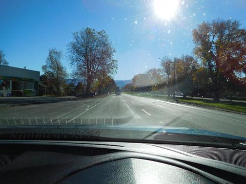 ニュージーランドのまっすぐな道