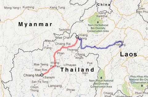 die Rote Linie ist die Straße - die blaue ist der Mekong River bis Luang Prabang.