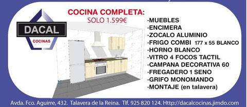 GASTATE LO MINIMO, tu cocina completa y terminada por 1.599 € (muebles+encimera+todos los electrodomesticos) Todo lo puedes elegir,las puertas(50 colores) encimeras (20 colores) tiradores (10 modelos) zocalo de aluminio y el mejor montaje....