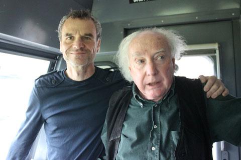 Die beiden Schriftsteller und Freunde Christian Uetz und Beat Brechbühl konnten sich bei der letzten Kultursprinter-Fahrt als Co-Piloten üben