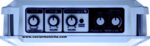 Roland Mobile BA:Comandi Mixer tono e riverbero.