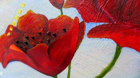 Muttertag - Acrylbild mit Mohn als Geschenk - DIY-Projekt