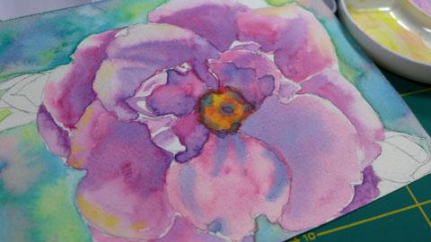Ein Jahr mit Blumen - Rose malen - DIY-Projekt