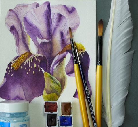 Ein Jahr mit Blumen - Iris malen - DIY-Projekt