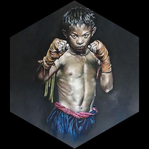 boxeur khmer ( d'après photo Antoine RAAB )
