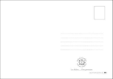 carte postale, kitsch, paradise, kp, peinture, artisan, créateur, artisanat, chêne, linogravure