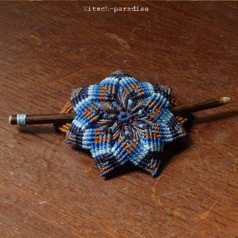 barrette bois macrame bleu bijou accessoire cheveux maman fête