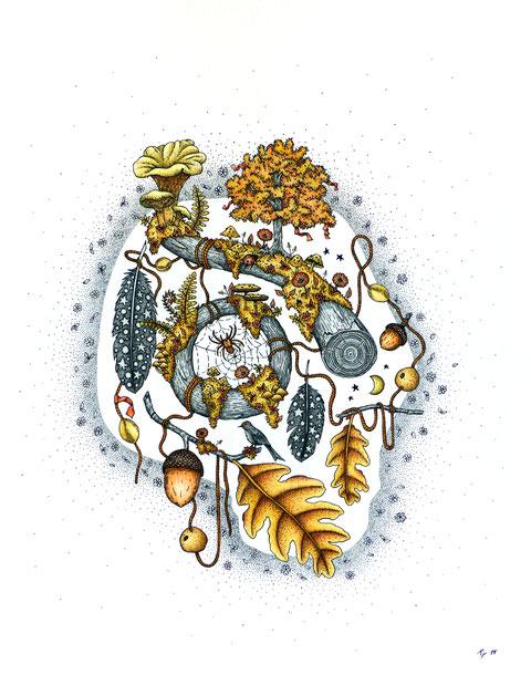 Automne, encre de chine et crayons de couleur sur papier 350gr. 2018,tête de mort, insectes, feuilles, nature, kitsch-paradise, artisan, créateur, bretagne