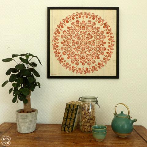 Kitsch, paradise, artisan, créateur, linogravure, art, dessin, nature, mantra, chêne, gland, papier peint