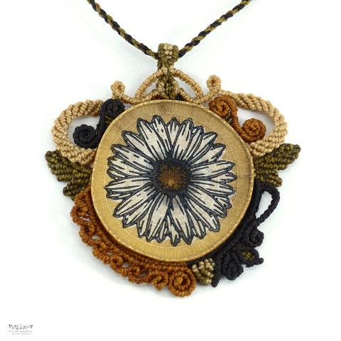 Kitsch, paradise, artisan, créateur, macramé, bijoux, art, collier, nature, leopardite