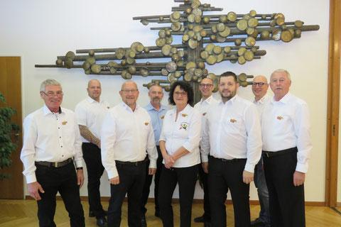Komitee Brander Prinz im Okt. 2019, v.l.n.r.: Joachim Meyer, Karl Scheider, Volker Scherff, Thomas Wolski, Wolfgang Müller, Dr. Rita Breuer, Jörg Lies, Walter Crombach, Dieter Röhrs, Ingo Strang