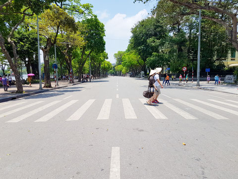 Leere Straßen in Hanoi