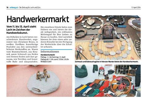 """Zeitungsartikel aus """"Arlberg.at"""", Bilder: Christiane Bruns, Redaktion: Max Wagner"""