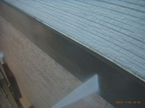 外壁高圧洗浄。 サイディング帯